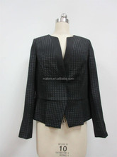 Office Ladies 100% polyester autumn blazer jacket competent OL style falbala HEM concise fitting wholesale cheap
