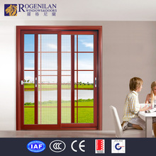 Rogenilan home depot tempered glass aluminum frame triple sliding door screen
