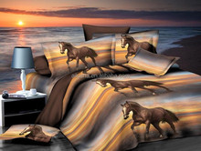 luxury european bed sheet wholesale horse 3d printed bedding set