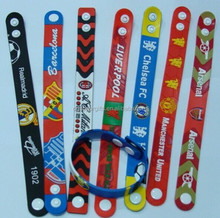 3D PVC silicone footall team wrist band bracelet band with plastic buttons