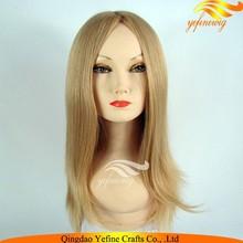 Full Handmade Swiss Lace Mongolian Hair Topper Wig Blond