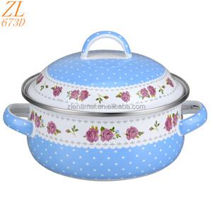 Цветок наборы посуды Кухня эмаль кастрюли аксессуары для женщин