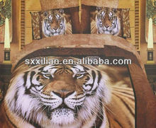fashion 3d reactive printing tiger/lion/leopard bed set/linen/sheet