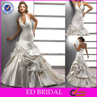XL010 Latest Sexy Halter Pleated Beaded Caught-up Skirt Designer Wedding Dress