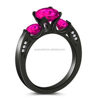 Top level hot sell Ruby gothic engagement ring