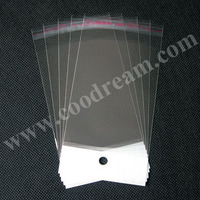 12x22cm clear recycle plastic resealable header opp self-adhesive bags