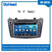 For 2012 Mazda 3 USB 3g Wifi GPS DVD Radio FM Bluetooth Android 4.4 Car Mp3 Player