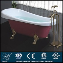 HS-B506 with floor stand faucet indoor red and white acrylic bath tub