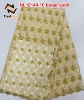 Dubai style beige gold african french lace,mesh lace material for women dress of NL10140