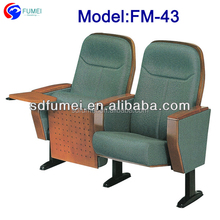 FM-43 College furniture wooden folded lecture hall chair with table