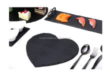 convenient black slate stone serving tray/plate/cup dinnerware with stainless steel handles