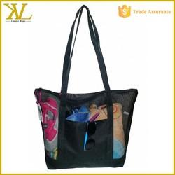 Good For Beach Black Nylon Mesh Beach Bag, Nylon Mesh Beach Tote Bag