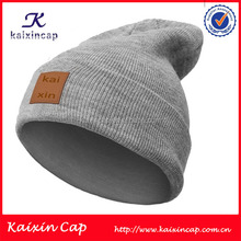 Promotional Custom hot sell Grey Beanie Hat With Leather Patch