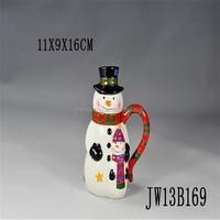 3D decorative christmas mug with snowman design,snowman shaped mug , snowman coffee mug