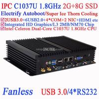 industrial computer workstations with USB 3.0 Dual Gigabit LAN 4 RS232 Auto Boot Intel Celeron C1037U 1.8Ghz 2G RAM 8G SSD