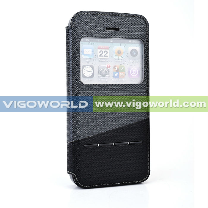 2014 alibaba China leather phone case for iPhone 6 dual color with front window