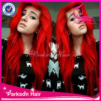 red wig , long hair wig , red human hair lace front wig