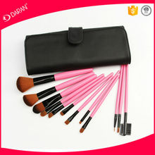 12 pcs pink make up brush set with PU leather bag