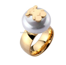 2015 latest design fashion 316L stainless steel lovely bear shell pearl ring MXKLRI3001