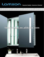 Cheap European Mirror Cabinets with soft close double sided mirror doors,shaver socket and vertical strip illumination