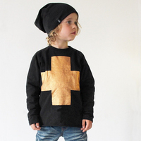 2015 Popular Fashion Autumn Kids Unisex Long Sleeve T-shirt Hoodies With Cross-shaped Print For Wholesale Kids Outfits