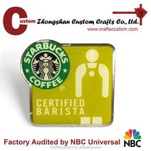 coffee company logo member emblem/custom logo lapel pin