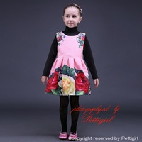 2015 New Arrival Wholesale Floral Girl Dress Print Flower Baby Dress Nice Quality Girls Vestido For Holiday Kids Wear GD80928-24