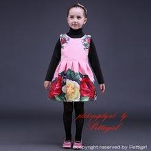 2015 chegada nova atacado Floral Vestido da menina imprimir flor do bebê Vestido agradável qualidade meninas Vestido para crianças de férias desgaste GD80928-24