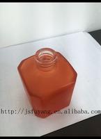 orange frosting custom made square perfume glass bottles