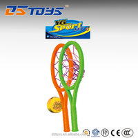 Custom kid toy 13.5cm colorful plastic beach tennis racket net with ball