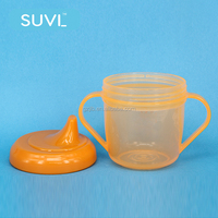 baby accessories good grade plastic orange 180ml baby sippy cup with handle