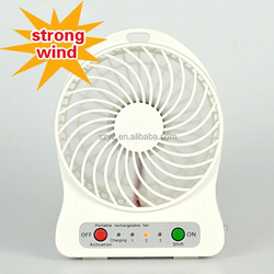 2015 Portable USB Powerful and quiet turbo fan Rechargeable 3Level Speed Mini Electric Fan with LED Light 3.7V 18650 battery