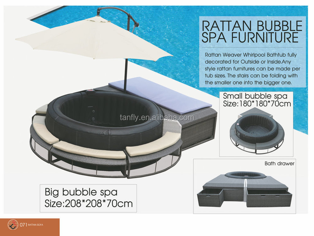 New Design Poly Rattan Bubble Spa Furniture For Inflatable Hot Tub ...