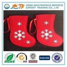 Red Christmas Santa felt socks