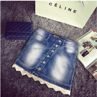 2015 cheap high quality mini wholesale lace denim (Q5866602),OEM service