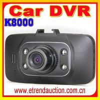 g-sensor motion detection hd car black box car dvr k8000 dual lens car dvr camera