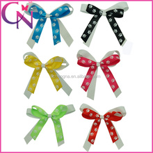 High Quality Cheerleading Cheer Bow Printed Dots Footprints Knot Hair Bow With Clip For Girls (CNHBW-1306174)