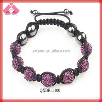 Colorful Sparkling Bead Braided Custom Adjustable Shamballa Bracelets Wholesale (QXBR11001)