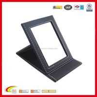 Wholesale Leather Fashion Travel Desktop Cosmetic Mirror Makeup Mirror 17x11 CM China Supplier