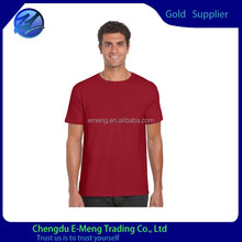 Pure Cotton Men Short Sleeve Blank Solid Color Red USA T shirt with no Print