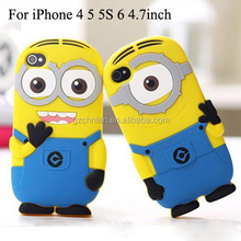 Hot Selling 3D Cartoon Soft Silicone Despicable Me Case For iPhone 6 4.7 inch Cute Minions Shockproof Back Cover