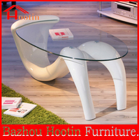 modern new design unusual shape base glass top center table