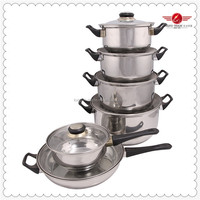 European Style Cooking Pot With Bakelite Handle Stainelss Steel Cookware Set Best Selling