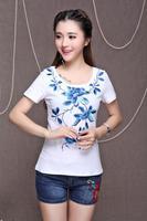 национальные тенденции женской моды китайский стиль вышитый Топ o шеи короткий рукав футболки женские Женская одежда