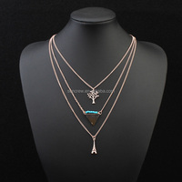 America and Europe fashion necklaces SC118418 Effiel tower tree and triangle pendants best products to import to usa