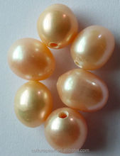 2mm holes 10-11mm Round Potato baroque coin Big Hole Freshwater Loose Pearls