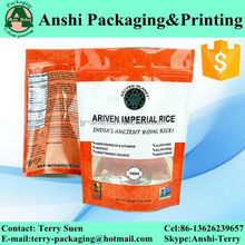 Print reaseal stand up plastic zipper bag with hanging hole
