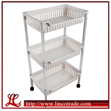 Kitchen 3 Layers Plastic Storage Shelves With Wheels