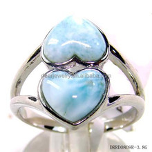 Heart Shaped Natural Larimar Ring, wholesale Handmade Jewelry ,925 Silver Ring
