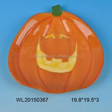 Halloween series ceramic plate in smiling pumpkin shape